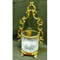 Antiguo Aljibe Cristal Tallado Con Montura De Bronce (122a)