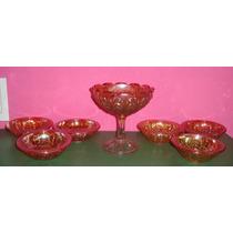 Carnival Glass - Bowl Con Pie Y 6 Compoteras -