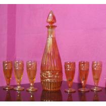 Carnival Glass - Licorera Y 6 Copas - Rib And Rasberry -