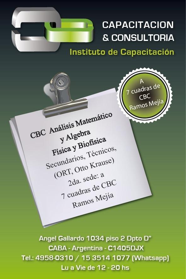 Clases de Análisis Matemático, Algebra, Física, Química, Biofísica. Secundarios técnicos, ORT, Otto Krause. A 7 cuadras CBC Ramos Mejía.