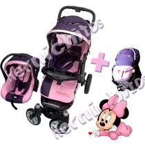 Combo Coche Cuna + Huevito +mochila Portabebe Minnie Disney