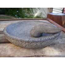 Mortero Playo De Piedra Estilo Antiguo 33x6 Cms