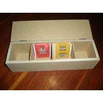 Cajas De Té 4 Divisiones En Madera Fibrofacil