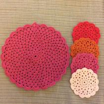 Individual Tejido Al Crochet Con 4 Posavasos