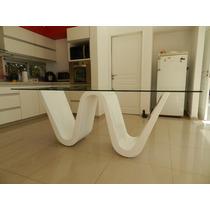Mesa Moderna Comedor Mueble Laqueado Con Vidrio 10mm