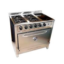 Cocina Industrial 4 Hornallas Y Plancha Acero Inox. 90 Cm