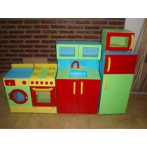Mueble Infantil Combo Heladera + Lavarropas + Microondas