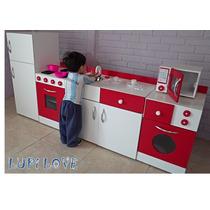 Juego De Muebles Cocina Infantil Juguete En Madera Casita