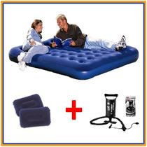 Colchón De Camping Inflable 2 Plazas + Inflador +2 Almohadas