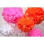 Pompones Flores Papel Seda Deco Para Desplegar 25cm Miralos!