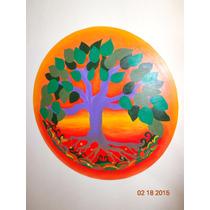 Mandala Pintado A Mano Sobre Fibrofacil De 40cm Diametro