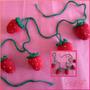 Colgantes De Frutillas Tejidas A Crochet