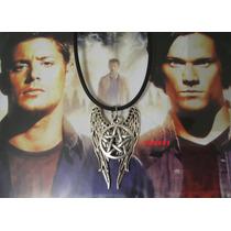 Supernatural Castiel Alas Pentagrama Collar Dije Colgante