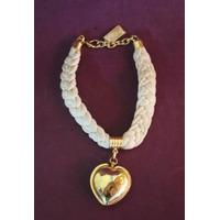 Collar Retro De Tela Trenzada Y Corazón Metal Dorado
