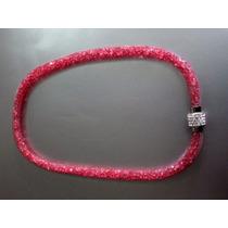 Collar Stardust Cristales Swarovsky, Cierre Iman, Color Rosa