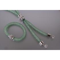 Collar Stardust Cristales Swarovsky Y Cubics, Verde Agua