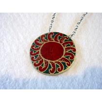 Cadena Plateada C/colgante Sol Rojo Esmaltado