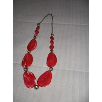 Hermoso Collar En Rojo Y Dorado.