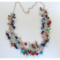 Collar Artesanal Con Piedras Semipreciosas Variadas