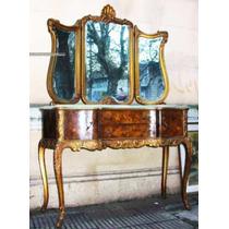 Historical*-toilette Inglés-espejo-marqueterie Frutal-mármol