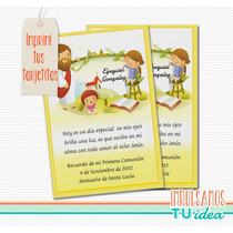 Comunión - Estampita Para Imprimir Con Jesús Y Niños