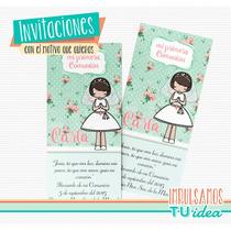 Comunión Nena - Estampita Para Imprimir Nenita Con Pollerita