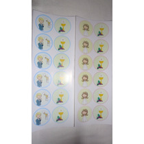 Souvenirs Comunión Stickers Círculos Plancha X 12 Stickers