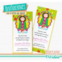 Comunión Nena - Estampita Para Imprimir Con Virgencita