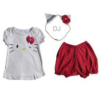 Conjunto Disfraz Kitty Bebe Nena Algodon 3 Piezas 0-24 Meses