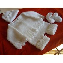 Conjunto De Lana Hipoalergènica Para Bebè - Tejido A Mano