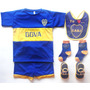 Kit Camiseta+short+babero+media+escarpines Futbol Boca Bebe