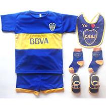 Kit Camiseta+short+babero+media+escarpines Futbol Boca Bebe