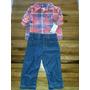 Carters Camisa Escocesa Coral Y Pantalón De Jeans Azul Oscur