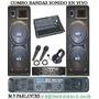 2 Bafle Columna 4757+ Potencia+ Consola Profesional+mic+aur