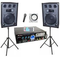 Combo Consola Usb Sd Radio Fm 200w De Potencia 2 Bafles Mic
