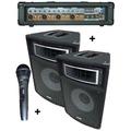 Combo Mixer Potenciado Bafles Y Microfono Karaoke Moon