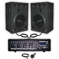 Combo Consola Potenciada 400w Usb Bluetooth 2 Bafles 12 +mic