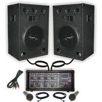 Combo Consola Potenciada Usb 300w 2 Bafles 15 2 Microfonos