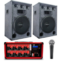 Amplificador 8 Entradas Bluetooth Usb + 2 Bafles Jahro De 15
