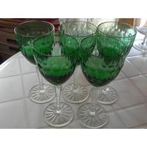 Copas De Vino Cristal Verde 5