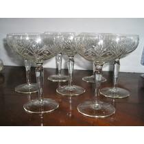 1271- Juego De 7 Copas De Champagne Cristal Tallado