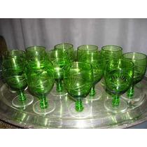 337- Juego De 12 Copas Verdes-vino Blanco- M