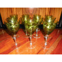 11 Antiguas Copas Cristal Verde Talladas Vino Blanco (ángela