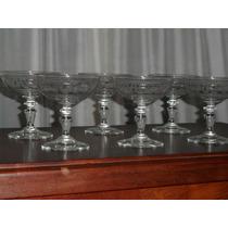 215- Juego De 6 Copas Champagne Art Deco Talladas Al Acido