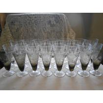 Juego De Copas Antiguas 24 Cristal Grabado