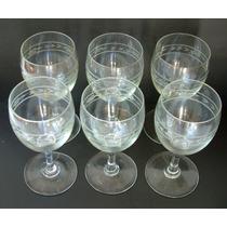 Antiguo Juego De 6 Copas De Cristal Tallado Para Vino