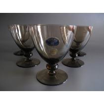 Juego Copas Cristal Bohemia Fume, Art Deco, Coleccion.