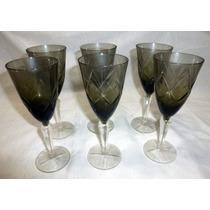 Juego Copas Cristal (6) Tipo Moser Vino Champagne Negras
