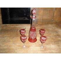 Antiguo Botellon Y 4 Copas Cristal Frances Color Rubi