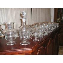 938- Juego De Copas Jarra Y Botellon Art Deco Talladas Acido